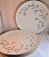 "Andrea Noritake Dinner Plates 10 1/2"" (Set 4) #5524 Gold Silver Metallic Floral"
