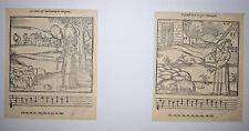 MUSIQUE 2 Bois Gravés GRAVURE DU FOUILLOUX Venerie Chant Huchement Bergeres 1580
