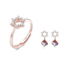 BAMOER Women Aurora Love Rose Jewelry Set S925 Sterling silver CZ Ring Earrings