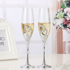 2 PCS / Set Crystal Wedding Toasting champagne flutes glasses Cup Wedding Party