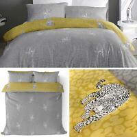 Grey Duvet Covers Leopard Print Ochre Reversible Modern Quilt Cover Bedding Sets