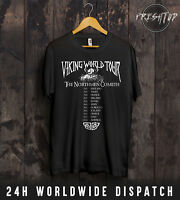 Vikings World Tour T Shirt Ragnar Lothbrok Shield Maiden Warriors Gym Valhalla