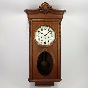 Jugendstil Junghans Emaille Westminster Regulator Pendule clock Wanduhr Eiche