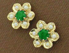 E042- Genuine 9ct Solid Gold Natural Emerald & Pearl Blossom Stud Earrings