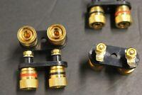 lot of 4 Gold Speaker Binding Post twise Scew type loaded / subwoofer basket