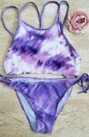 Two Piece Bikini Set Swim Suit  Purple Tie Dye Size Small