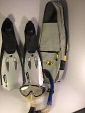 New listing BODY GLOVE Sz 5-6 38-39 SURGE fins / flippers, Tempered Mask, Snorkel, & Bag