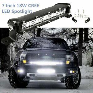 7inch Slim LED Work Light Bar Single Row Spot Offroad Driving ATV/4WD/SUV Boat
