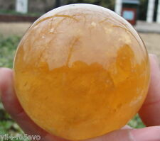 60MM+STAND Natural Citrine Calcite Quartz Crystal Sphere Ball Healing Gemston bu