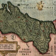 Portugal 1655 Ortelius charming antique miniature color map sailing ship
