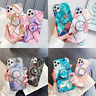 Geometric Marble Case For iPhone 11 Pro Max XS Max XR Airbag Holder Socket Cover