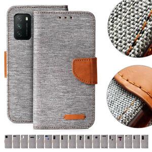 Handy Tasche Grau Flip Cover Case Schutz Hülle Etui Jeans Canvas Stoff Wallet