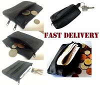 MENS LADIES BLACK REAL LEATHER COIN POUCH WALLET PURSE zip2Cn