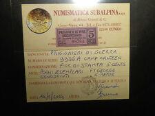 PRIGIONIERI DI GUERRA 5 cents PRISONER WAR CAMP CANTEEN FT  R5 NUMIS SUBALPINA