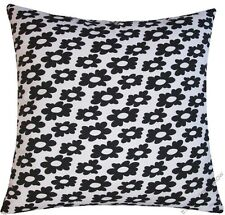 """White/Black Wildflower cotton decorative throw pillow cover/cushion cover 18x18"""""""