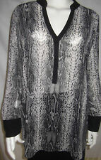 JACQUI E Womens Long Sleeve Black & Grey sheer Top - size 10