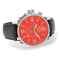 20133 Invicta 46mm I Force Lefty Quartz Chronograph Red Dial Leather Strap Watch