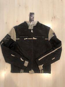MEN RARE ED HARDY LEATHER JACKET RACE'N PISTON SKULL_BLACK/COOL WHITE (L)
