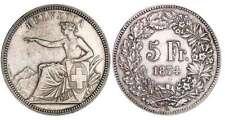 Suisse - 5 francs 1874 B. (Bruxelles)