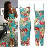 Celebrity Cami Strappy Sleevless Floral Print Bodycon Midi Dress - Womens Ladies