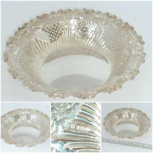 Victorian Solid Silver Bowl Dish Repousse Pierced  Sheffield 1871 Fenton Bros