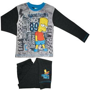 Boys Bart Simpson Pyjamas - Cosy Cotton PJs - Sizes 5 to 12 Years