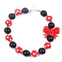 Fashion Red Bowknot Christmas kids Chunky Bubblegum Girls Necklace Baby Jewelry