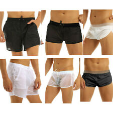 Mens Quick Dry Beach Swim Shorts See Through Boxer Briefs Trunks Underwear Pants