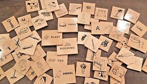 57 Wooden Language Picture Tiles Sorting Childhood Education Idea Learning #286