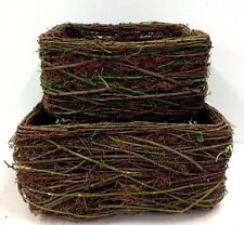"Square Vine Baskets~Faux Moss Accent~Set 2. Wire Frame. 10"" & 14"" Square"