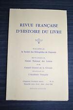 Revue Française d'Histoire du Livre - N°43