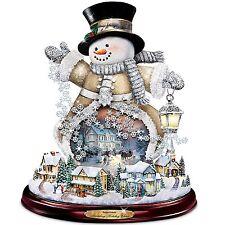 Thomas Kinkade Spreading Holiday Cheer Lighted Rotating Musical Snowman NEW