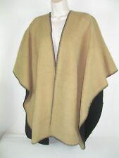 WOOLRICH Black/Tan Fleece REVERSIBLE Wrap SHAWL Women One Size NWOT