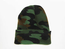 New 2016 Winter Camo Beanie Watch Cap Green Camouflage 2-Layer One Size Acrylic
