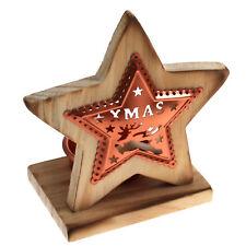 """Teelichthalter aus Holz & Kupfer """"STERN"""" Dekoration Weihnachten Tisch Teelicht"""