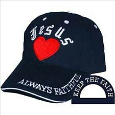 Jesus Baseball Cap, Blue with Red Heart, 100% Cotton, one size fits all.