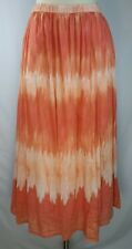 Chicos Orange Tie Dye Long Skirt Lined Flowy Hippie Boho Ombre Small 8 Size 1