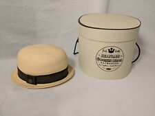 Perfect Condition! Goorin Bros Straw Bowler hat w/ box. Size Large