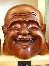 WOODEN HAPPY BUDDHA HEAD STATUE Figure 16 cm CHINESE LAUGHING HAND CARVED