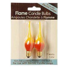 CANDLE BULB, 2 Pk Natural FLAME look 7 watt Bulb-Yellow and Orange #6201-06