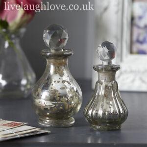 Set Of 2 Decorative Vintage Styled Mercury Glass Bottles