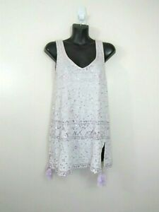 Calypso St. Barth Small Sleeveless Sequin Embroidered Linen Tank Top Lavender