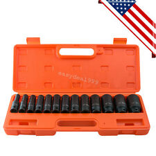 "13pcs 1/2"" inch Deep Impact Socket Tool Set 10-32mm Metric Garage Workshop Case"