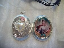 NECKLACE DUAL PENDANT PICTURE LOCKET CAMEO LADY & BIRDS - KEY TO MY HEART OOAK