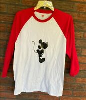 Mickey Mouse Jersey Large Shirt Red White Baseball Tee 3/4 Sleeve Disney Kisses