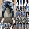 Men's Ripped Jeans Pants Skinny Distressed Slim Fit Biker Casual Denim Trouser L