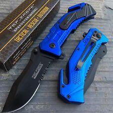 TAC-FORCE Navy Inscription Blue Coated Tactical Rescue Pocket Knife