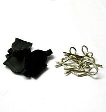 HY00148BK 1/16 1/10 Small Silver Body Clips R Pin x 4 + Rubber Black Grips