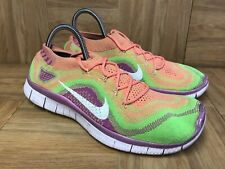 RARE🔥 Nike Flyknit+ Women's Running Shoes Sz 9 615806-613 Woven Rainbow Sherbet