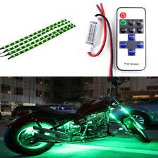 4X 12V Wireless Remote Control Motorcycle Green LED Light Strip Kit for Kawasaki